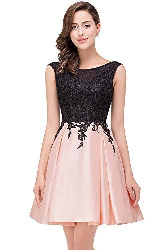 MisShow Damen Hinten-V-Rückenfrei Taft-Satin Kurz Partykleider Ballkleid Abendkleid Rosa Gr.36