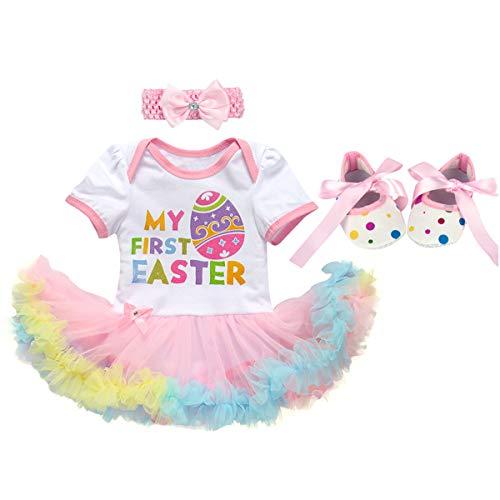 OBEEII Baby Mädchen 3tlg Ostern Bekleidungssets Strampler Tutu Kleid + Stirnband + Schuhe Osterei Osterhase Prinzessin Kostüm für Neugeborenes Kinder 3-6 Monate
