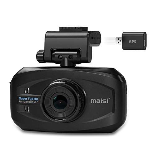 MAISI® Smart Car Recorder with GPS, Super HD 1296P Color Black Box WDR Dashboard Camcorder (170-degree Wide Angle, Automatic Ignition/Motion/Crash Detection and Recording with G-sensor, One Button Audio Recording On/Off, Automatic Seamless Video Recording in Loop, Smart Speed/Deviation Warning, Headlight On/Off Warning, Multi-Language User Interface)