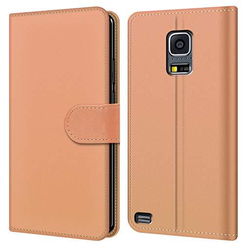 Conie BW34218 Basic Wallet Kompatibel mit Samsung Galaxy S5 Mini, Booklet PU Leder Hülle Tasche mit Kartenfächer und Aufstellfunktion für Galaxy S5 Mini Case Creme