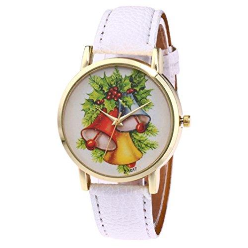 Fulltime® Nouveau modèle d'arbre de Noël à la mode charme spécial de conception de cadran de cuir de quartz (Blanc)