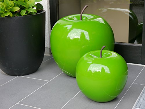 Deko-Artikel Apfel aus Fiberglas in Hochglanz, Deko-Obst, Deko (Ø34x H35 cm, Grün)
