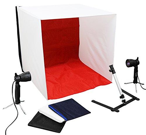 Luxburg® professionelles mini Fotostudio - 2x 50W Leuchte, 40x40x40cm Lichtwürfel Lichtzelt Fotozelt Fotobox, Kameraständer und 4 Hintergründe im Set