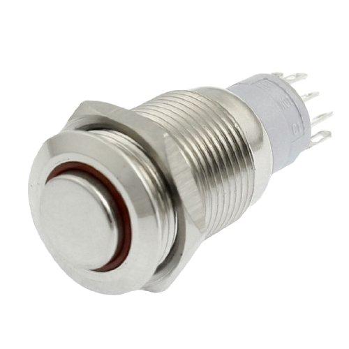 sourcingmap® DC 24V Rot LED 16 mm SPDT Round einrastend Druckschalter Schalter Pilot-licht-schalter