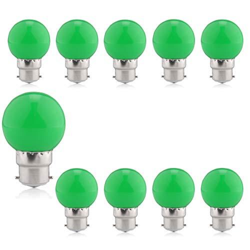 rnen bunt LED 1.5W=15W, 10er Set Grün Farbige Leuchtmittel B22 Bajonett, für Garten, Bäume, Terrasse, Weihnachten, Hochzeiten, Partys, Girlanden, Innen und außen, Brightfour ()