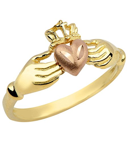 Gold Claddagh Ring Irish (Kleine Schätze - Damen Ring / Verlobungsring / partnerring 10 Karat Gold Irish Claddagh Ring)