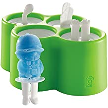ZOKU KJ-003 Eiszubereiter Safari Pops 4 Stück, Kunststoff, mehrfarbig, 14 x 18 x 8 cm, 4 Einheiten