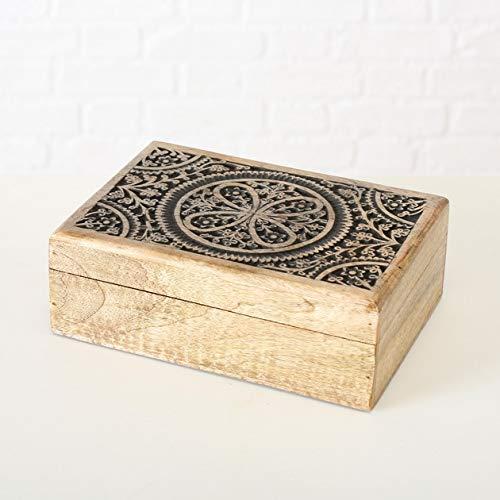 Bloominghome Holzbox Aufbewahrungsbox Mangoholz Ornamente 25 x 8 x 17 cm