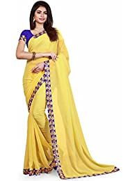 sarees(Treadindia Women's Yellow Color boder Embrodery work Georgette saree)