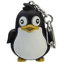 Arbre Pinguin Schlüsselanhänger LED Licht Weihnachten mit Sound Schlüsselanhänger Tasche für Kinder Erwachsene (schwarz)