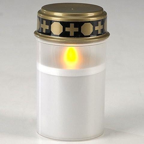 TWC Warenhandel Plus ® Grablicht LED Grabkerze für Friedhof Grableuchte mit Beleuchtung LED Grablichter verschiedene Farben wind-und wetterfest, mit realistischem Flackern, Leuchtdauer bis zu 45 Tage (Weiß)