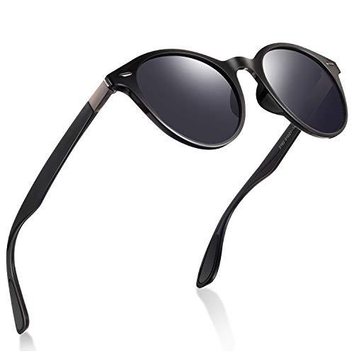 wearpro Retro Sonnenbrillen Herren Damen Runde Polarisierte Sonnenbrillen Herren Sportbrillen Mode TR Material Ultraleicht UV400 (Helles Schwarz)