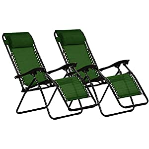 KEPLIN Set of 2 Heavy Duty Zero Gravity Chairs -Green