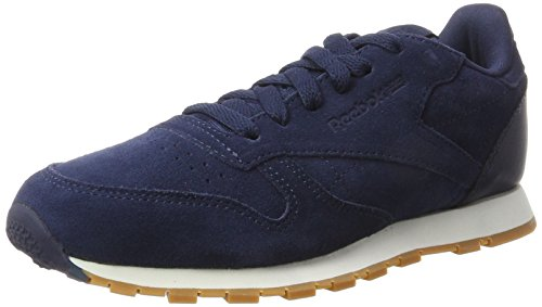 Reebok Unisex-Kinder Classic Leather SG - Grade School Sneaker, Blau (Collegiate Navy/Chalk-Gum), 36 EU - Retro Classic Leather Herren Schuhe