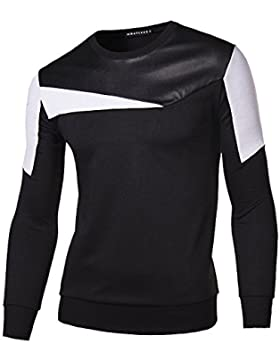 Trendy Men 's Casual Manga Larga Camiseta Cuello Redondo Costura Jóvenes Mode Pull Sweater, Negro, Extra-Large