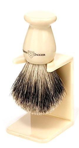 Edwin Jagger Traditional English Faux Ivory Best Badger Hair Shaving Brush - Medium -