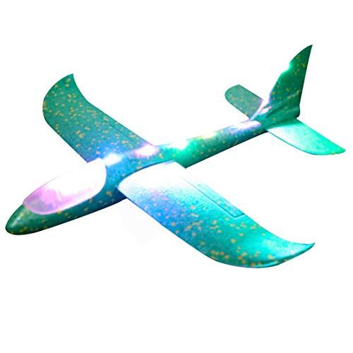 happy event LED Throwing Foam Glider Airplane | Inertia Aircraft Toy | Hand Launch Airplane Model | Flugzeug (Grün)