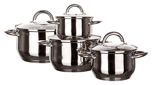 Banquet Stock Pot Stainless Steel Induction Ready Cookware Set, Natural, Set of 4