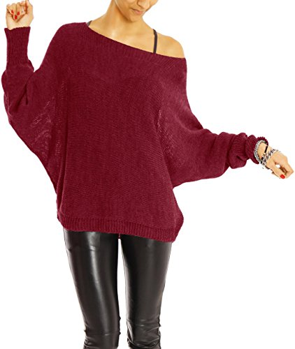 Bestyledberlin pull-over femme, pull-over aux manches chauve-souris t35p Bordeaux