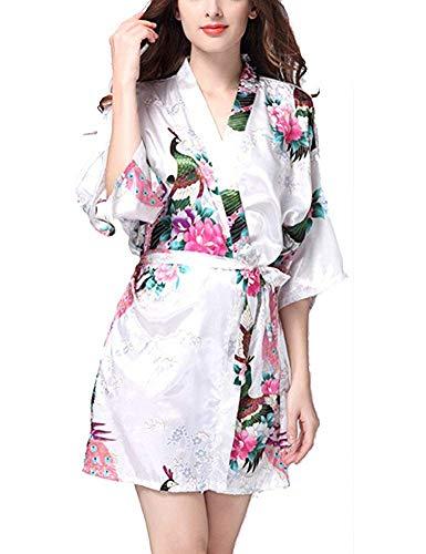 HaoLiao Kimono-Pyjama Frauen Nightgown Bademantel Court V-Ausschnitt Mit Gürtel Druck Pfau Und Blumen Retro-Weiß, ()