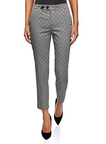 oodji Ultra Mujer Pantalones de Algodón con Botones a Presión Decorativos, Negro, ES 38 / S