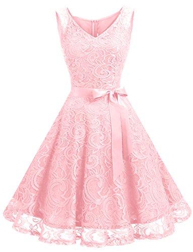 Dressystar DS0010 Brautjungfernkleid Ohne Arm Kleid Aus Spitzen Spitzenkleid Knielang Festliches Cocktailkleid Rosa ()