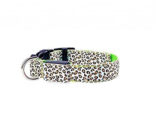 photovie batteria notte illuminazione a LED collare in nylon resistente, motivo leopardato per cani di dimensioni più, giallo verde