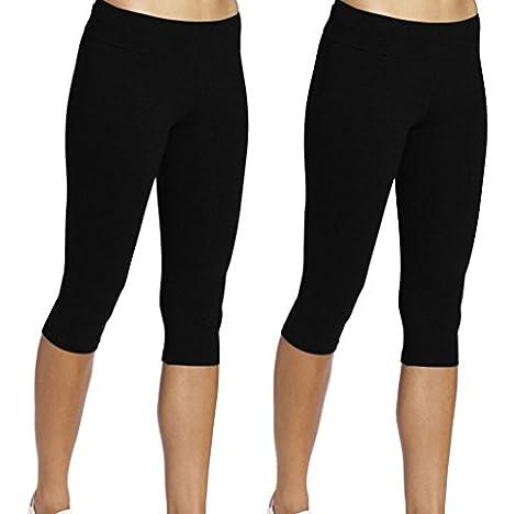 iLoveSIA Women's Tights Capri Workout Leggings 2Pack Black Size M