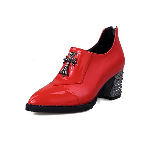 VogueZone009 Damen Spitz Zehe Ziehen auf Nubukleder Eingelegt Mittler Absatz Pumps Schuhe, Rot, 35