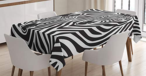 ABAKUHAUS Safari Tischdecke, Zebras Augen und Gesicht, Für den Inn und Outdoor Bereich geeignet Waschbar Druck Klar Kein Verblassen, 140 x 170 cm, Anthrazit grau Weiß
