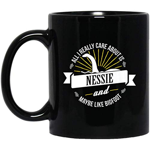 All I Really Care About Is Nessie Loch Ness Monster 11 oz. Black Mug