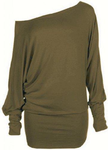 Funky Boutique Tunica da donna a maniche lunghe Khaki Green