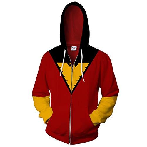 Unisex-Kleidung Herren Plus Size Full Zip Extra Länge Kapuzenpulli Hoody Kleidung Mantel für Erwachsene,Red,XL