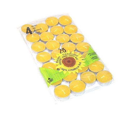 28 Citronella Duftkerzen Brenndauer ca. 4h , Durchmesser 3,8 cm zur Mückenabwehr Teelichter Anti-Mücken-Kerzen Duftlichter Zitrone Outdoor Garten zur Mückenabwehr