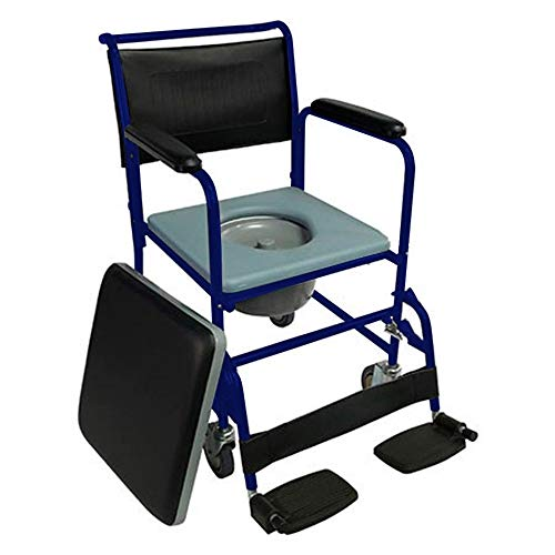 Mobiclinic - Sedia WC con ruote e coperchio, poggiapiedi pieghevoli e braccioli rimovibili, colore: blu