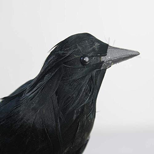 SYXFS Halloween-Dekoration, handgefertigte Krähen, realistisch aussehende Vögel, Schwarze gefiederte Krähen, Halloween-Requisite, Dekoration, 2 ()