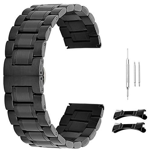 17mm 18mm 19mm 20mm 21mm 22mm 23mm 24mm Männer Edelstahlband Uhrenarmband schwarz ()