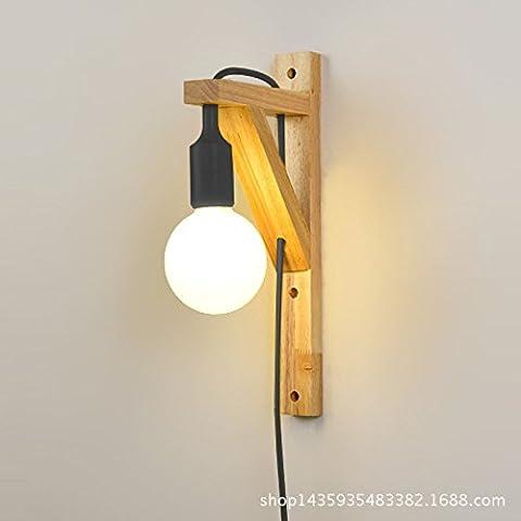 Ycwl Bois massif moderne simple lampe murale Creative personnalité LED Chambre à coucher Salon de chevet Allée lampe murale avec interrupteur Plug