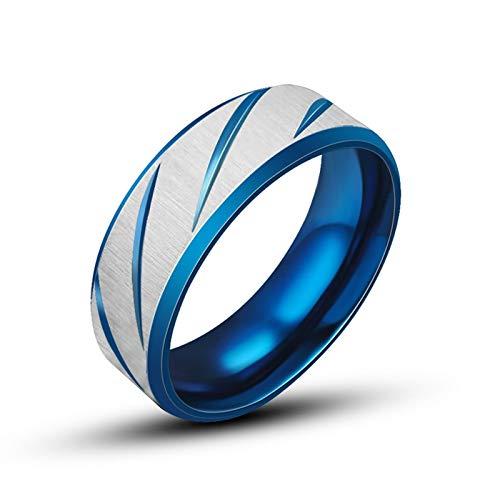 DOLOVE Ringe Herren Edelstahl Gothic Runden Blau Ringe Silber Größe 62 (19.7)