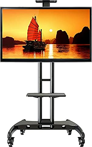 StandMounts Universal Trolley Mobile TV Cart Rolling TV Stand with