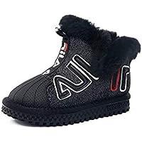 zj Botas de Nieve para Niños Invierno, Además de Terciopelo, Realmente Zapatos Casuales para el Cabello, con Capucha, Niños Grandes, Zapatos de Algodón, Zapatillas Ligeras,Negro,36