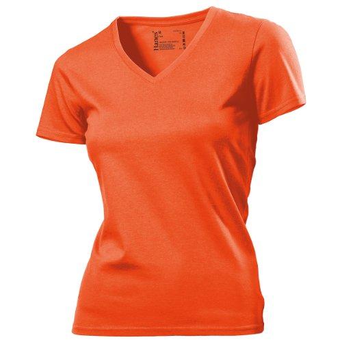 ... Hanes Tagless Damen T-Shirt mit V-Ausschnitt Slim Fit Marineblau ...