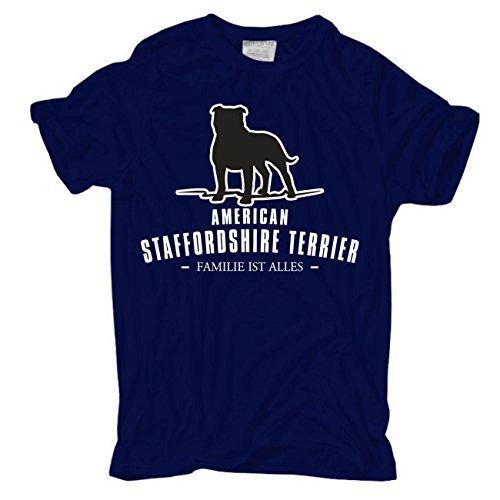Männer und Herren T-Shirt American Staffordshire Terrier - Familie ist alles körperbetont dunkelblau
