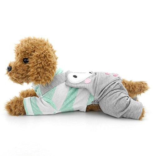 ranphy Kleiner Hund/Katze Outfits Pet Kleidung aus Baumwolle Grün/Grau Stripe Neutral Jumpsuit für Puppy