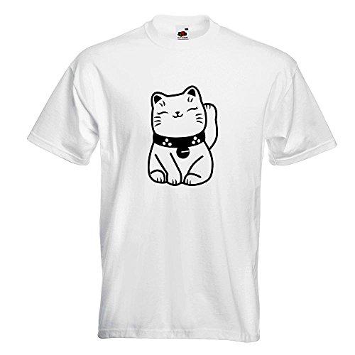 KIWISTAR - Winkekatze Maneki - Neko T-Shirt in 15 verschiedenen Farben - Herren Funshirt bedruckt Design Sprüche Spruch Motive Oberteil Baumwolle Print Größe S M L XL XXL Weiß