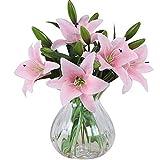 MEIWO Flores Artificiales, 5 Pcs Real Toque Látex Artificial Lillies Flores en Floreros Decoración de Boda/Decoración para el hogar/Parte/Graves Arreglo(Rosado)