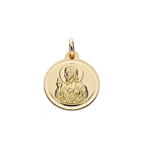 Medalla oro 18k escapulario 18mm. Virgen Carmen y Cristo [AA0564]