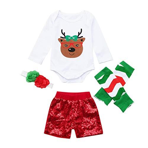 Robemon❤️Enfant Bébé Unisex Garçons Filles Cartoon Deer Salopettes et Combinaisons Sequins Shorts Leggings Outfits Ensembles de Fille