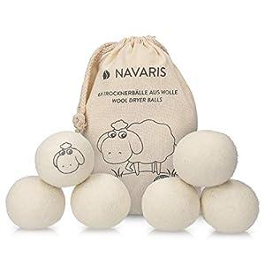 Navaris Trocknerbälle 6er Pack ökologisch - Ball für Wäschetrockner aus 100% Wolle - Umweltschonende Filzbälle - Bio Weichspüler Alternative