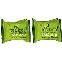Tea Tree - Toallitas faciales de limpieza diaria para piel limpia y saludable (paquete doble